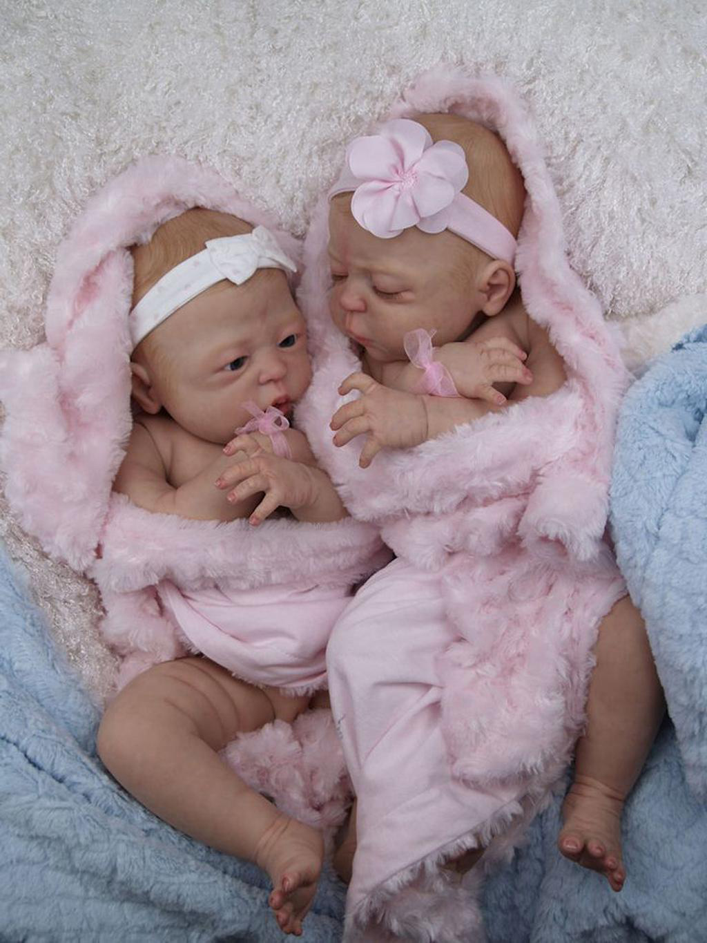 Boy and Girl Full Body Silicone Reborn Baby Twins