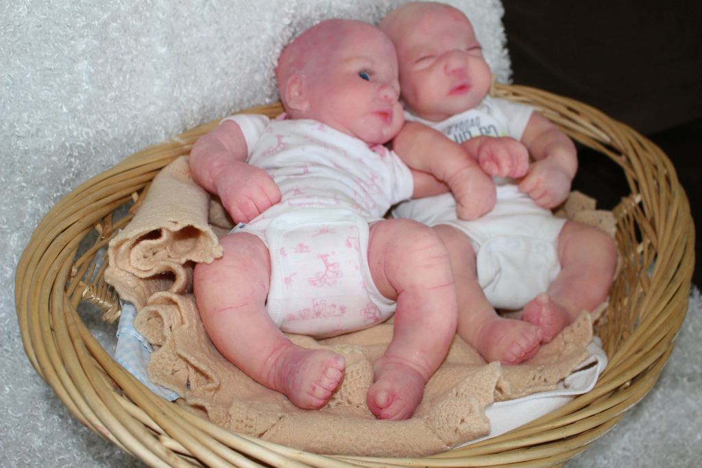 Solid Full Body Silicone Reborn Baby Twins