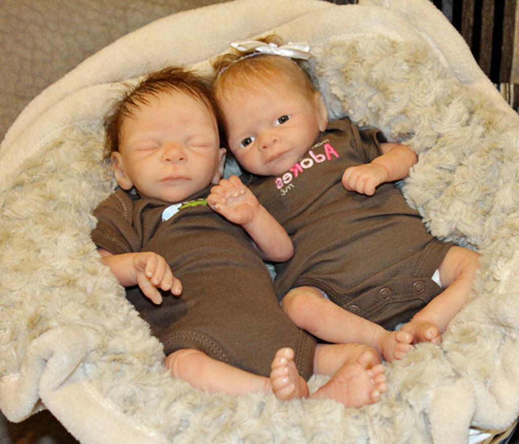 Cute Full Body Silicone Baby Dolls Twins