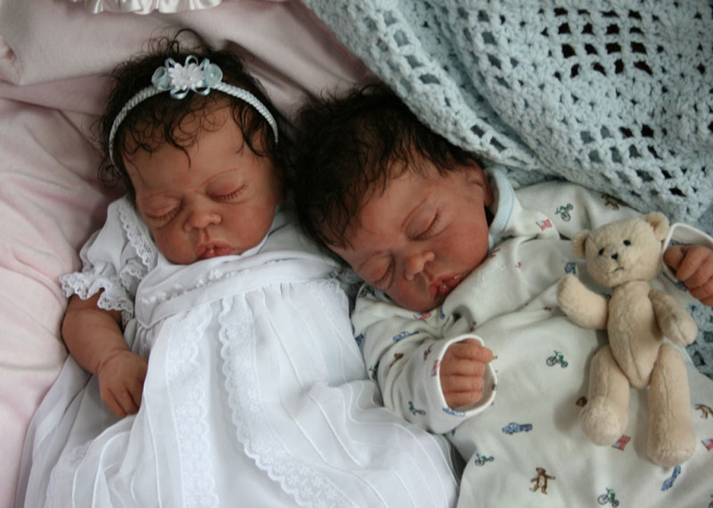 Full Body Silicone Baby Twins African American
